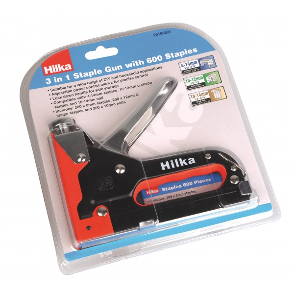 HILKA 3IN1 STAPLE GUN WITH 600 STAPLES