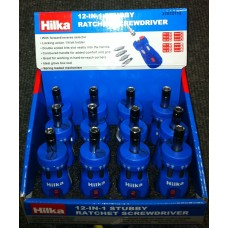 HILKA 12 IN 1 STUBBY RATCHET S/DRIVER (12)