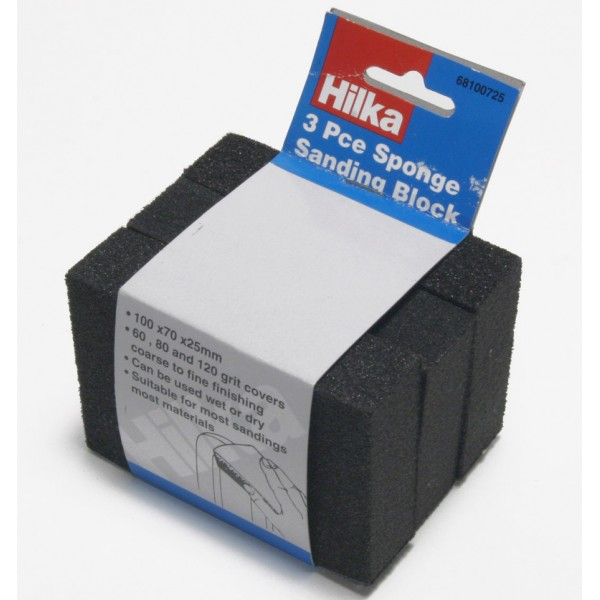 HILKA 3 PCE SPONGE SANDING BLOCK 100MM x 70MM x 25MM