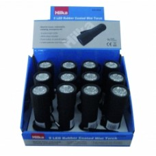 HILKA 1W COB 70 LUMENS RUBBER MINI TORCH (12PC DISPLAY)