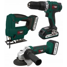 PROTOOL 3PC CORDLESS SET ANGLE GRINDER, DRILL & JIG SAW